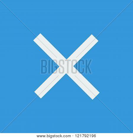 Cancel Icon, On Blue Background, White Outline, Large Size Symbol