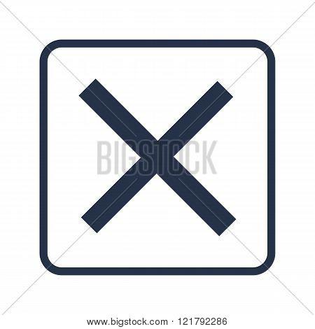 Cancel Icon, On White Background, Rounded Rectangle Border, Blue Outline