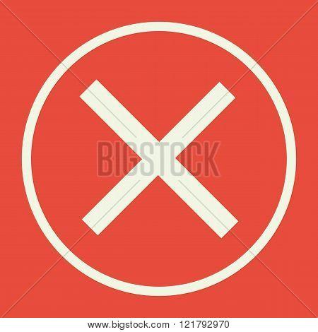Cancel Icon, On Red Background, White Circle Border, White Outline