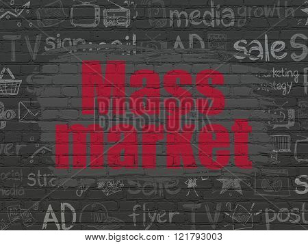 Marketing concept: Mass Market on wall background