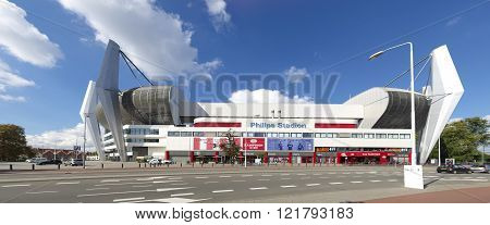 EINDHOVEN NETHERLANDS - AUGUST 26 2015: Exterior of the Philips football stadium home to PSV football club founded on August 31 1913. PSV became 22 times dutch champion.