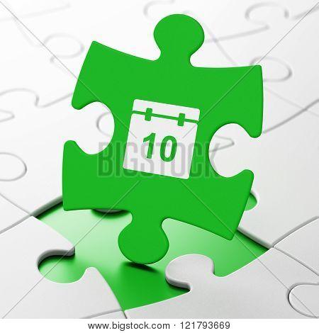 Timeline concept: Calendar on puzzle background