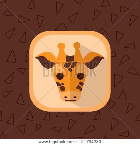 Little Cute Baby Giraffe Flat Icon.