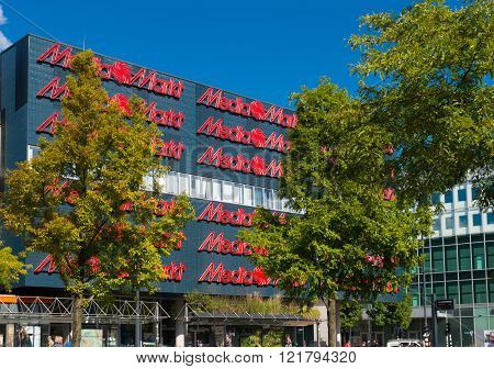 EINDHOVEN NETHERLANDS - AUGUST 26 2015: Exterior of the Media Markt electronics store. Media Markt is a German retail chain that specializes in consumer electronics.