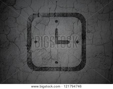 Timeline concept: Watch on grunge wall background