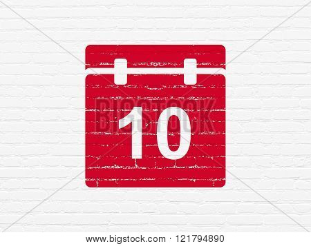 Timeline concept: Calendar on wall background