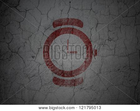 Time concept: Watch on grunge wall background