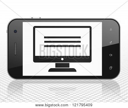 Web design concept: Smartphone with Monitor on display