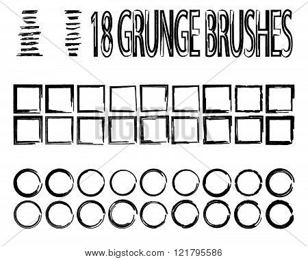 Hand drawn grunge brushes. Doodle brushes. Grunge frames. Set.
