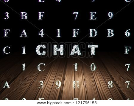 Web development concept: Chat in grunge dark room