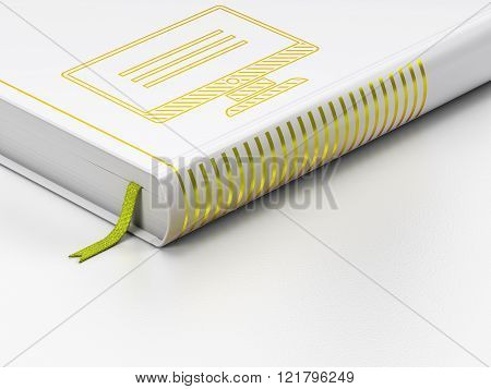 Web design concept: closed book, Monitor on white background