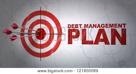 Business concept: target and Debt Management Plan on wall background