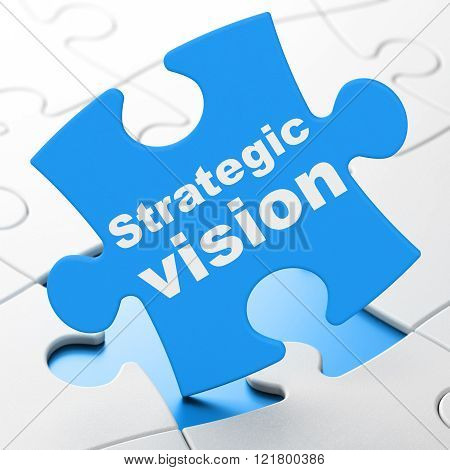 Finance concept: Strategic Vision on puzzle background