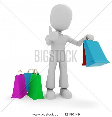3d man and colorfull shopping bags