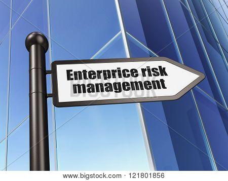Business concept: sign Enterprice Risk Management on Building background