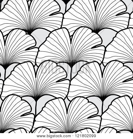 Seamless black and white gingko leaf pattern. Vector illustratio