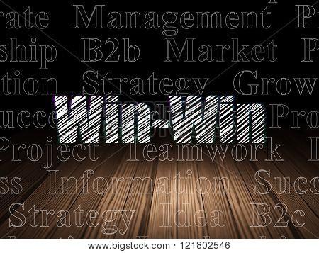 Finance concept: Win-Win in grunge dark room