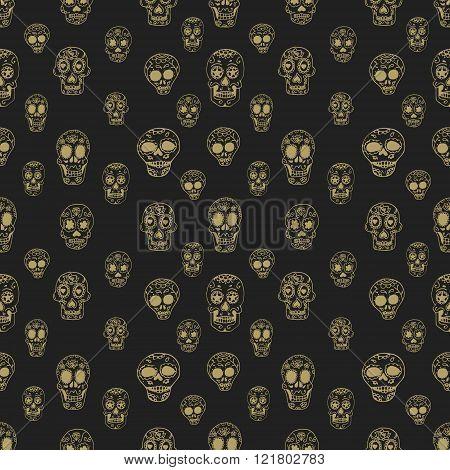 Seamless Pattern With Sugar Skulls
