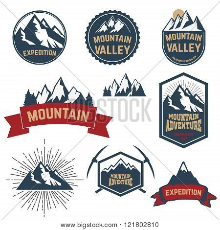 Set Of Adventure, Expedition, Mountain Labels And Emblems.