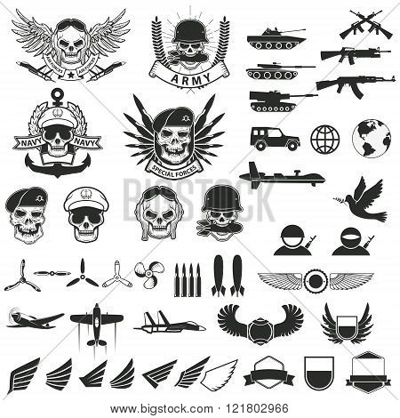 Set Of Military Labels, Badges, Emblems And Design Elements.