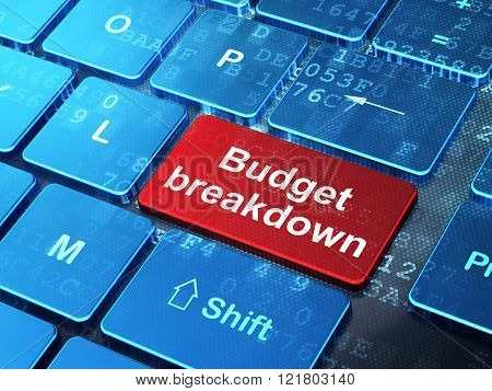 Finance concept: Budget Breakdown on computer keyboard background