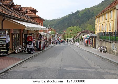 Karlstejn, Czech Republic - April 30, 2013: Buildings On Main Street Leading To The Karlstein Castle