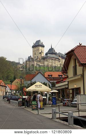 Karlstejn, Czech Republic - April 30, 2013: Main Street Leading To The Karlstein Castle, Karlstejn,