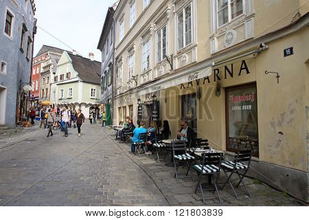 Cesky Krumlov, Czech Republic - May 01, 2013: Streets Of The Historic Town Cesky Krumlov