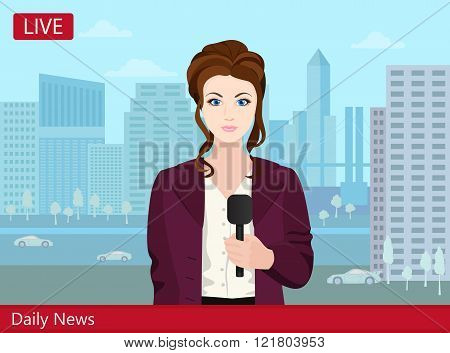 Beautiful young woman TV news reporter on the street.