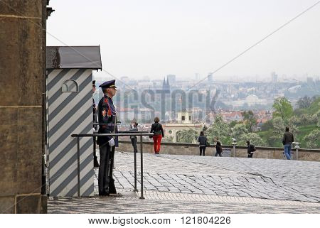 Prague, Czech Republic - April 29, 2013: The Guard Of Honor At The Presidential Palace In Prague Cas