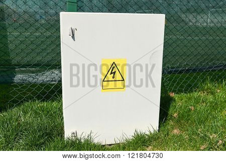 Outdoor electric control box distribution box in nature poster