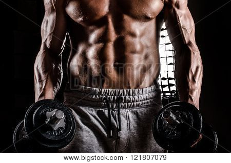 Beautiful male torso with weights