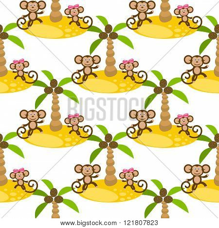 Monkey on island kid seamless vector pattern for textile print.