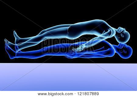 A 3d rendered Illustration. A symbolic Astral Projection.
