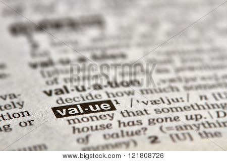 Value Word Definition Text
