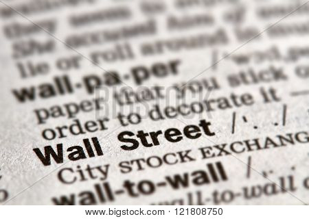 Wall Street Word Definition Text