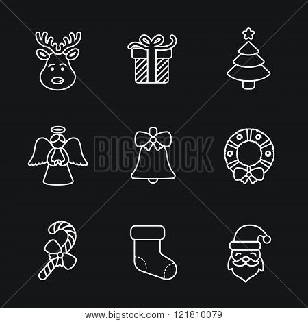 Christmas icons, thin line style, flat design.