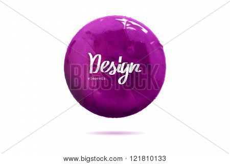 Round Purple Banner Painted With Paint