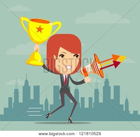 woman holding up winning trophy and a megaphone