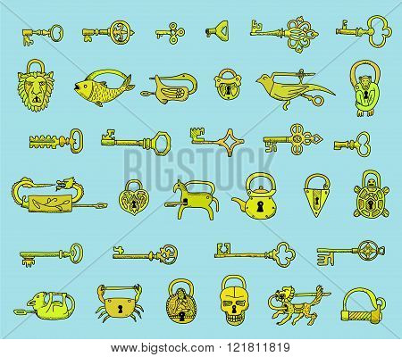 Set of vintage keys and locks in vector.  Doodles. Isolated  on a light blue background.