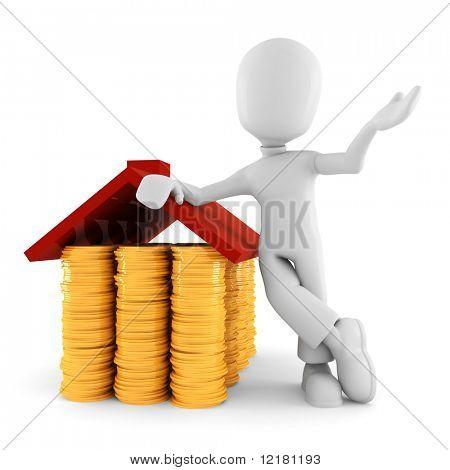 3d man saving money, on white background