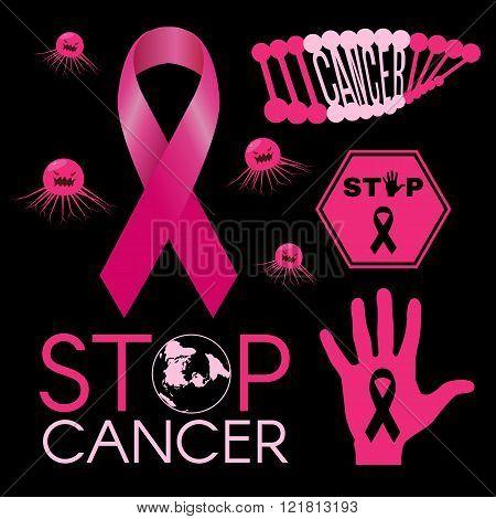Cancer Virus. Dna Cancer. Stop Cancer World. Stop Cancer Hand Sign. Pink Ribbon. On Black Background