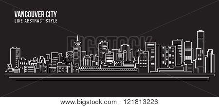 Cityscape Building Line Art Vector Illustration Design - Vancouver City