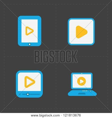 Flat video player icons on dark background.