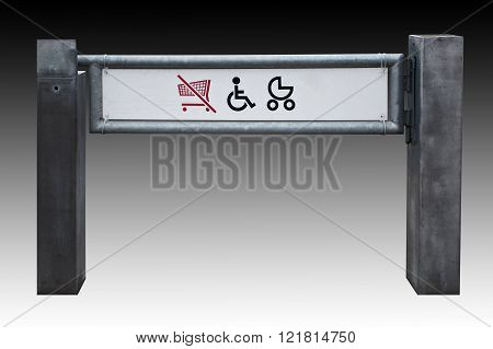 Shop Exit For Physically Challenged Persons And Strollers, Isolated