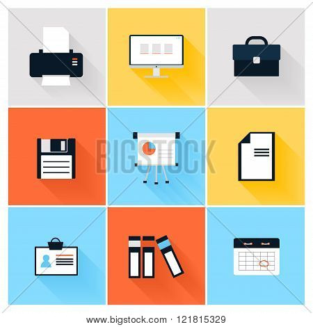 Modern Icons Vector Collection Of Business Elements, Office Equipment And Marketing Items. Isolated