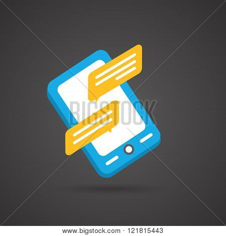Colorful flat social icon on Dark Background