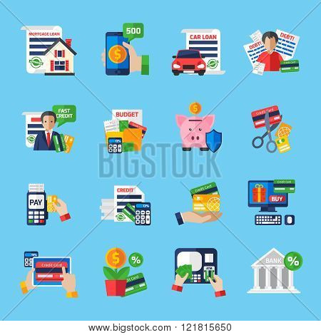 Loan debt flat color icons set of fast credit proposal budget scheduling mortgage loan  payment terminal and scissors cutting credit card isolated vector illustration poster