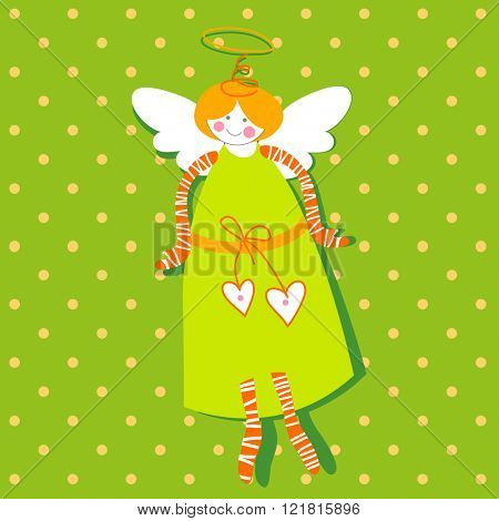 Angel with wings and a halo on a green background. Flying cupid. Greeting Card Template for Easter. Cartoon angel. Vector illustration.