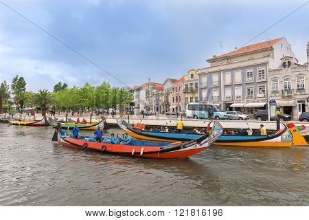 Moliceiro Boat Sail Along The Canal In Aveiro, Portugal